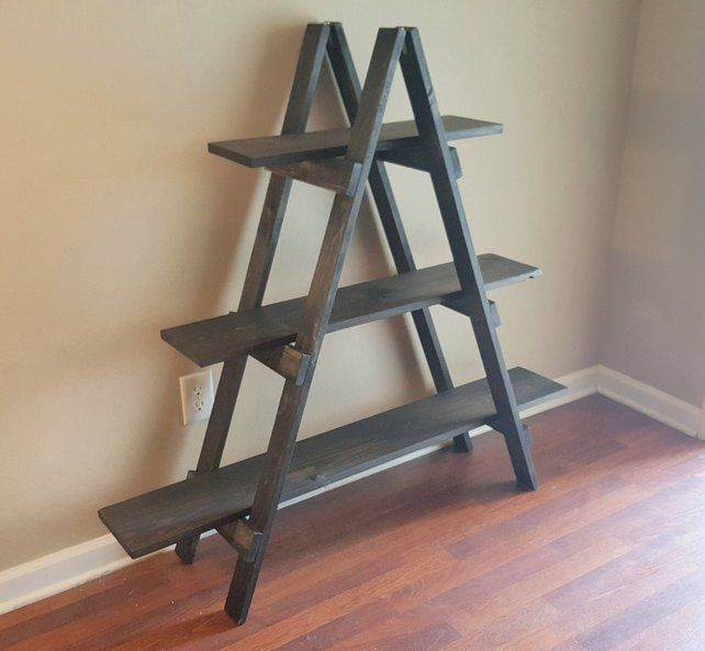 Ladder Shelf, 4 ft Wooden Ladder, Craft Fair Display, Craft Show Display, Portable Display, Display Stand, Trade Show Display, Wooden Shelf #diyplantstand