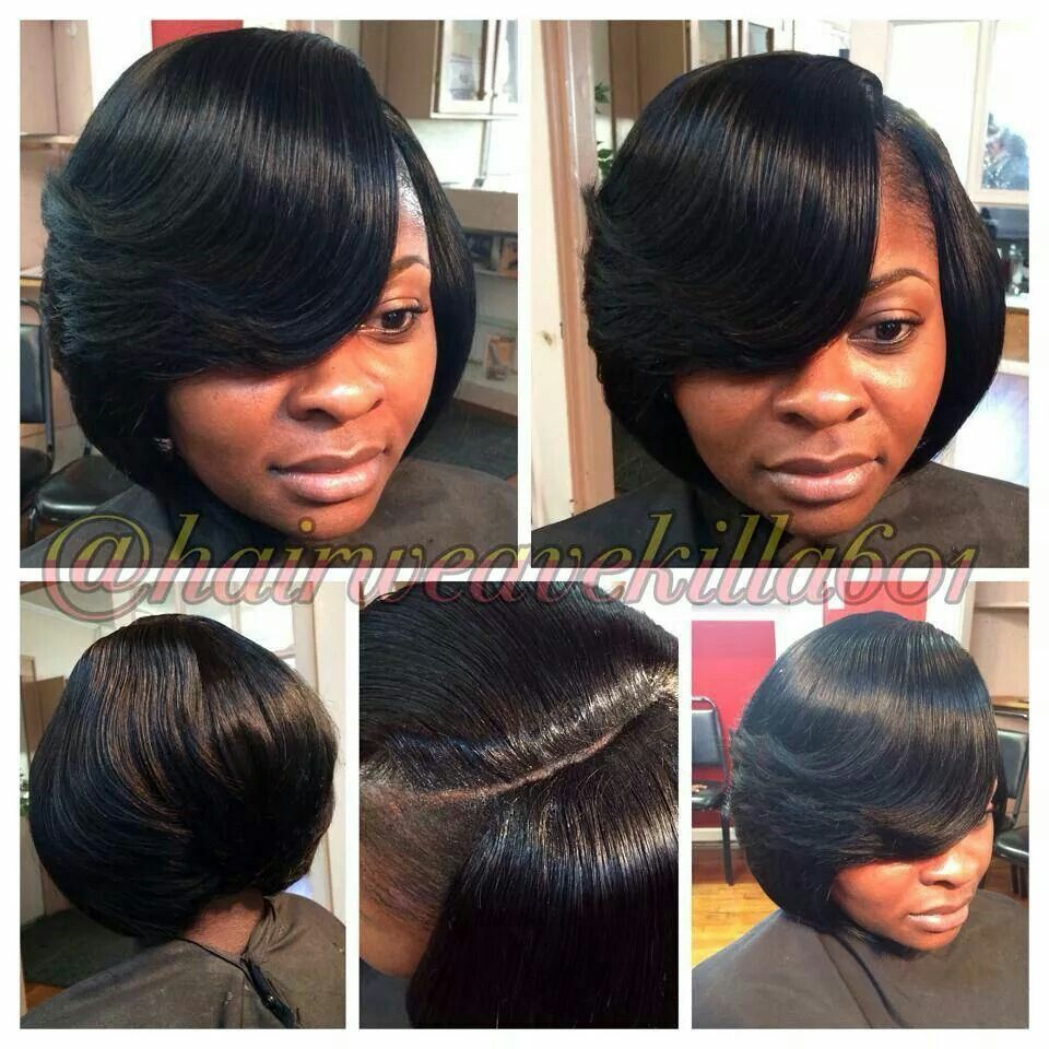 bob with illusion part quickweave   hair styles   pinterest