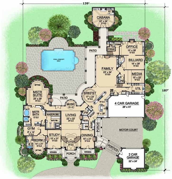 European Style House Plans - 15079 Square Foot Home , 2 Story, 7 ...