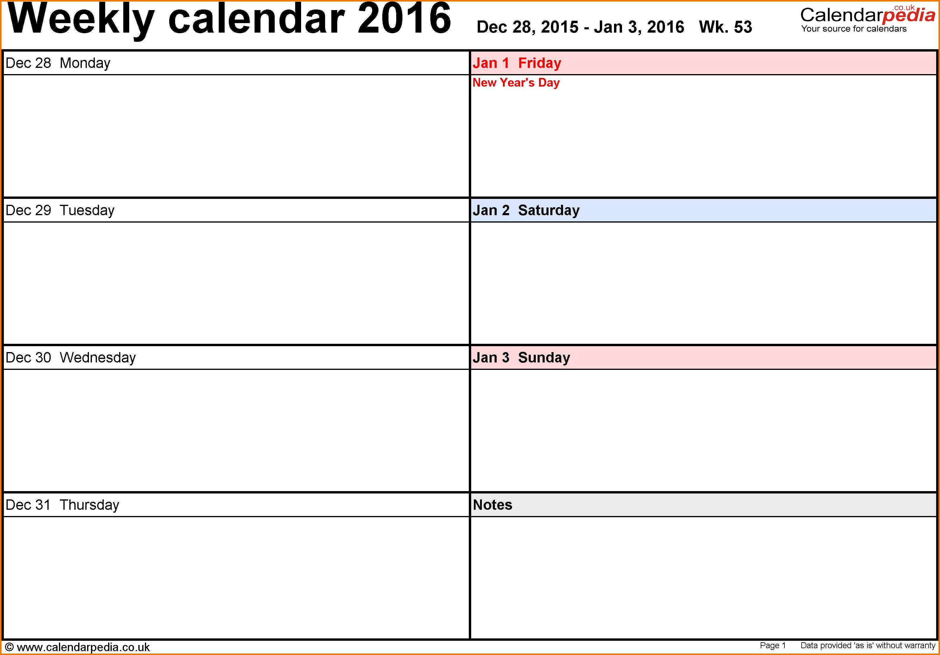 Excel Template 6 Weekly Calendar 2016 Landscape Orientation Days Daily Planner Template Weekly Planner Template Free Weekly Planner Templates