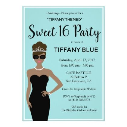 breakfast at tiffany s sweet 16 invitation diy cyo customize