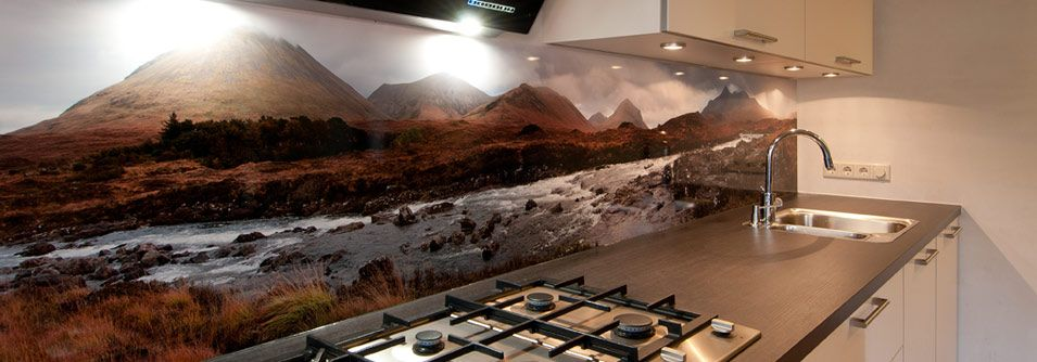 See our splashback designs in a finished kitchen Isle of Skye - motive für küchenrückwand