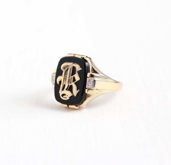 Vintage 10k Rosy Yellow Gold Initial Letter K Signet Diamond Ring Art Deco 1930s Size 10 1 2 Black On Black Onyx Ring Onyx Signet Ring Antique Rings Art Deco