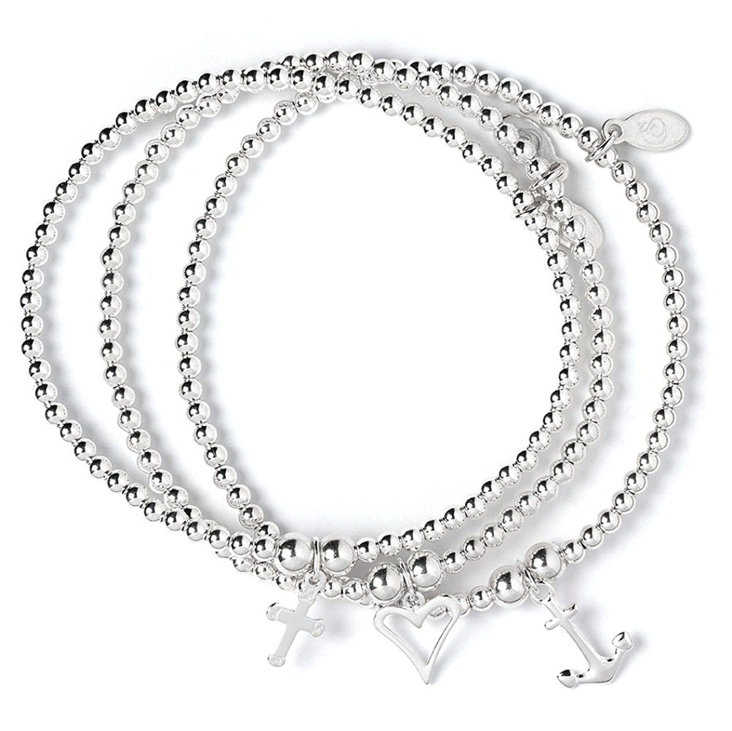 Set of 3 Sterling Silver 'Rice & Noodle' Ball Bead Bracelets- Love Hope & Charity xD6vAbvZ