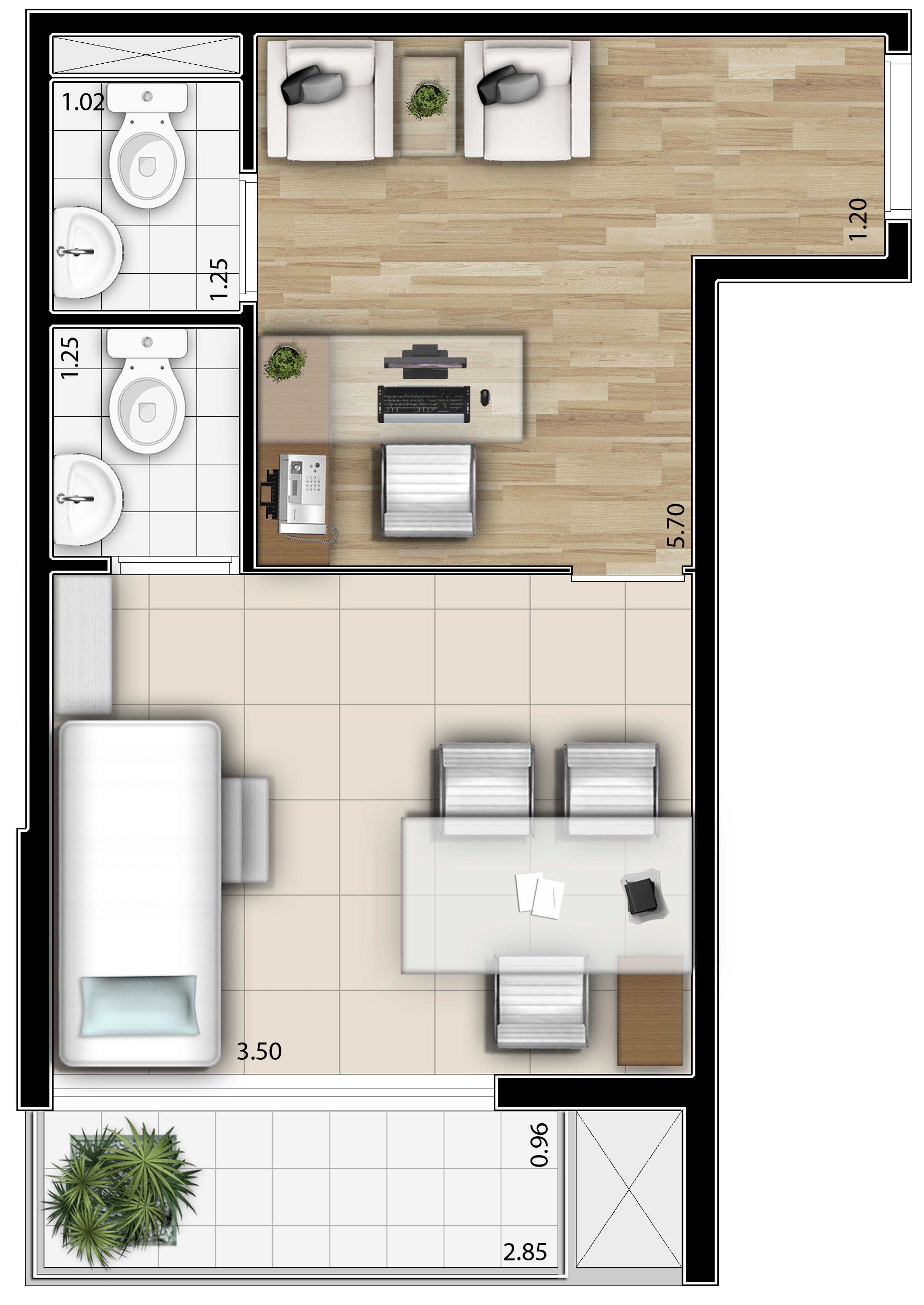 Evolution para so planta 27 m sugest o de decora o 1 for Planos de oficinas pequenas