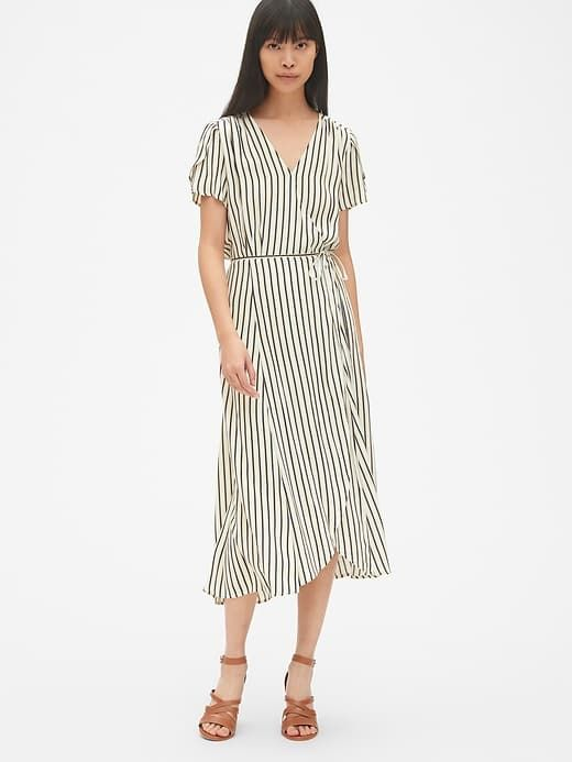 5407753dc100 Gap Women's Short Sleeve Print Midi Wrap Dress Neutral Stripe in ...
