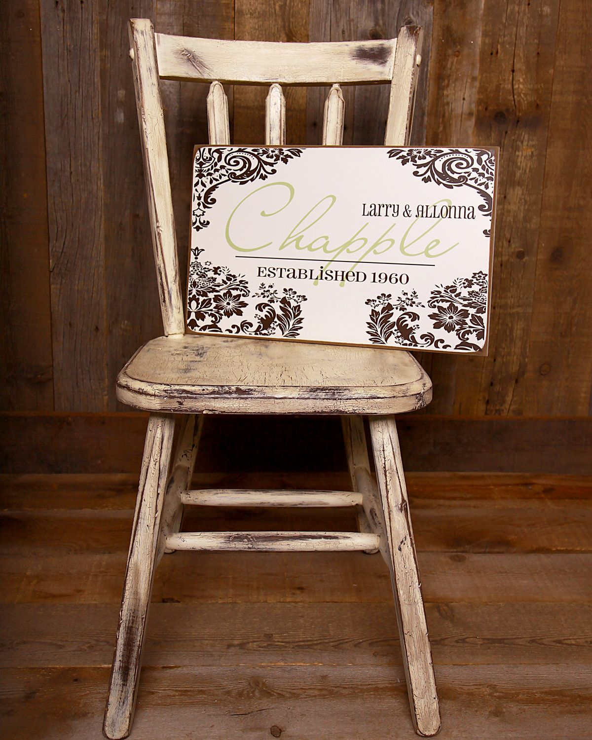 Modern shabby chic personalized plaque perfect wedding