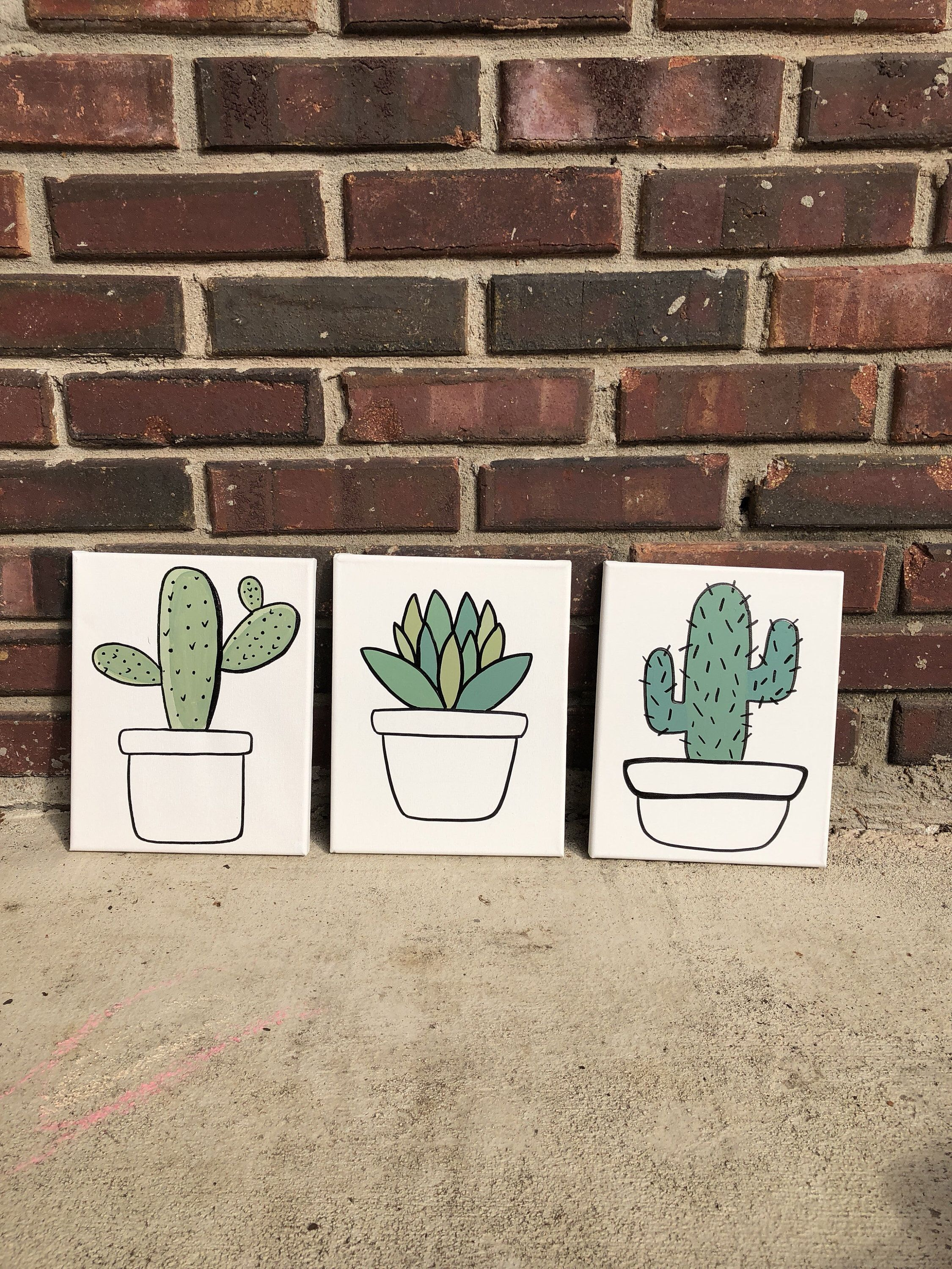 Cactus decor set of 3 cactus art succulent dorm room wall art cactus painting cactus art kitchen wall art loving room wall artplant is part of Cactus decor Living Room - design  Send me a message with any questions or requests
