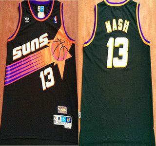 edd7149ef56 Phoenix Suns Jersey 13 Steve Nash Black Hardwood Classics Soul Swingman  Throwback Jerseys