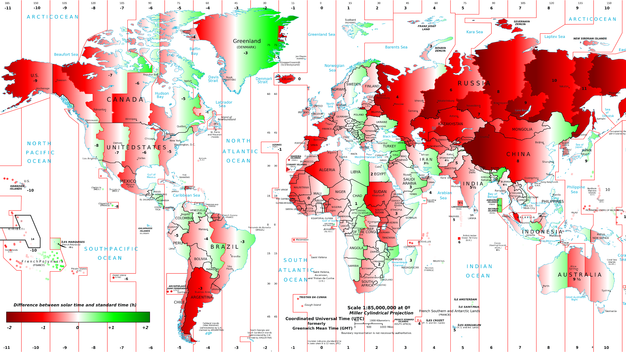 How The Time Of Sunrise And Sunset Varies Around The Wrold Solar - World sunlight map