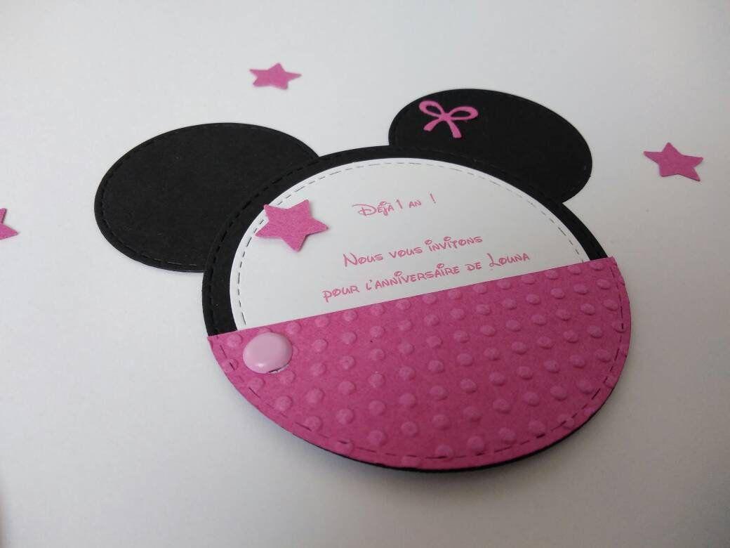 Invitation Pour Anniversaire Bapteme Sur Le Theme Minnie De La Boutique Scrapboutik Sur Etsy Etsy Invitations Popsockets