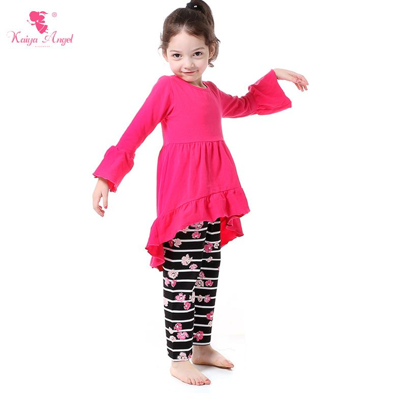 821c60064d43 Find More Clothing Sets Information about Kaiya Angel Floral Autumn Fashion  Style Girls Clothing Sets Hot