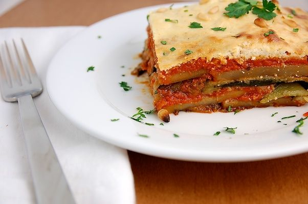 Isa Chandra's Eggplant Potato Moussaka with Pine Nut Cream; from eat well meal plans