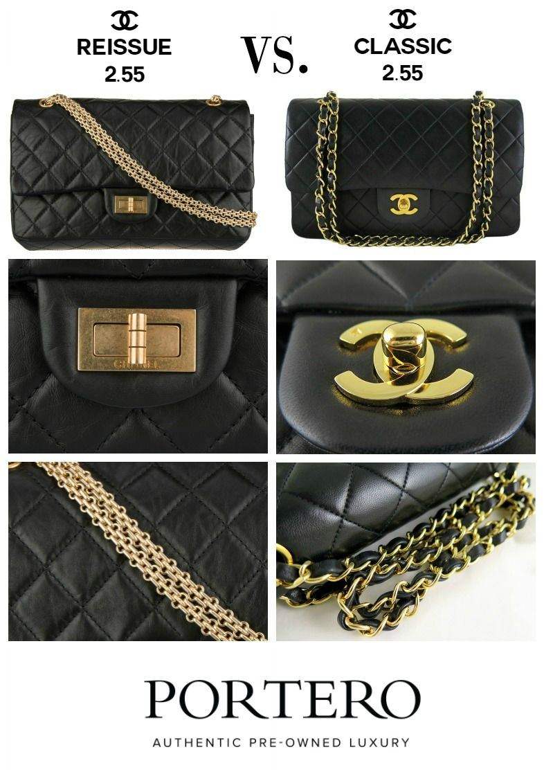 e3f72bbedf6c6c Chanel 2.55 bag comparison: Chanel Reissue vs. Classic Chanel Flap. Visit  PORTERO.com to find authentic pristine and pre-owned Chanel flap bags.