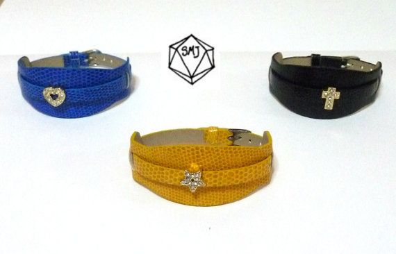 Leather cuff bracelets and rhinestone charms by SofiMoukidouJewels, $19.00