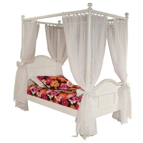 Emma Canopy Bed ❤ liked on Polyvore featuring home, furniture, beds and bedroom