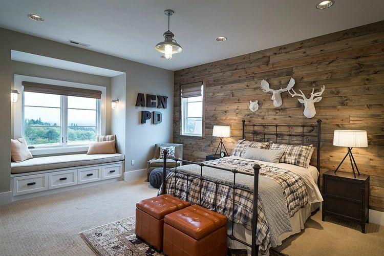 Deko Ideen geräumiges Schlafzimmer Wanddeko Schlafbett aus Metall - wanddeko für schlafzimmer