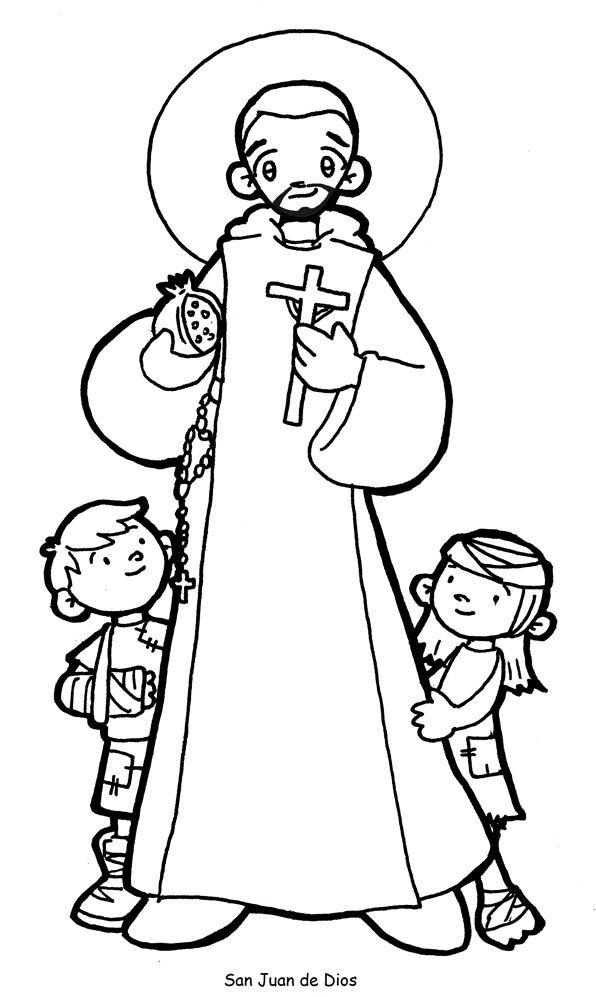 SAN JUAN DE DIOS para pintar. | ideas cristianismo | Pinterest | Santos