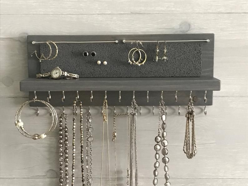 14 Gray Jewelry Organizer Necklace Holder Wall Mounted Etsy Necklace Holder Wall Jewelry Hanger Hanging Jewelry Organizer