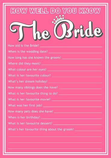 free hen party quiz game bridal shower ideas pinterest bridal