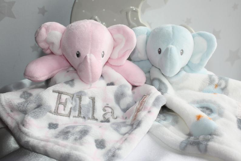 Personalised Baby Girl Birth Information Blanket Quilt Baby Shower Gift Elephant Quilt- Elephant Blanket Pink Mint Minky Blanket