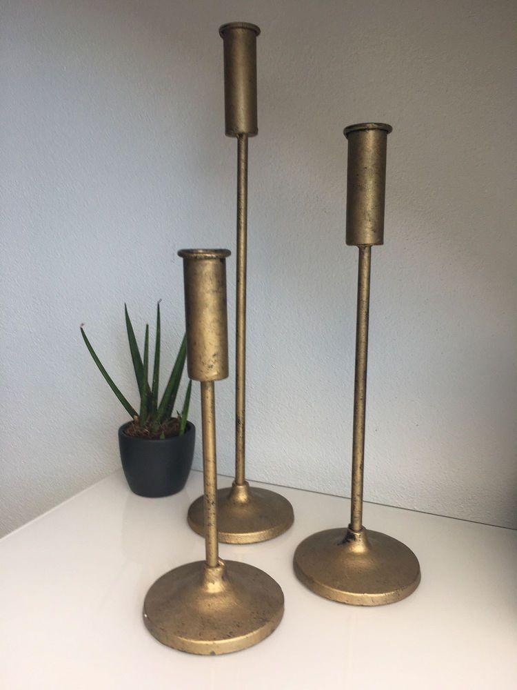 Kerzenhalter Metall 3er Set Messing Kerzenständer Vintage