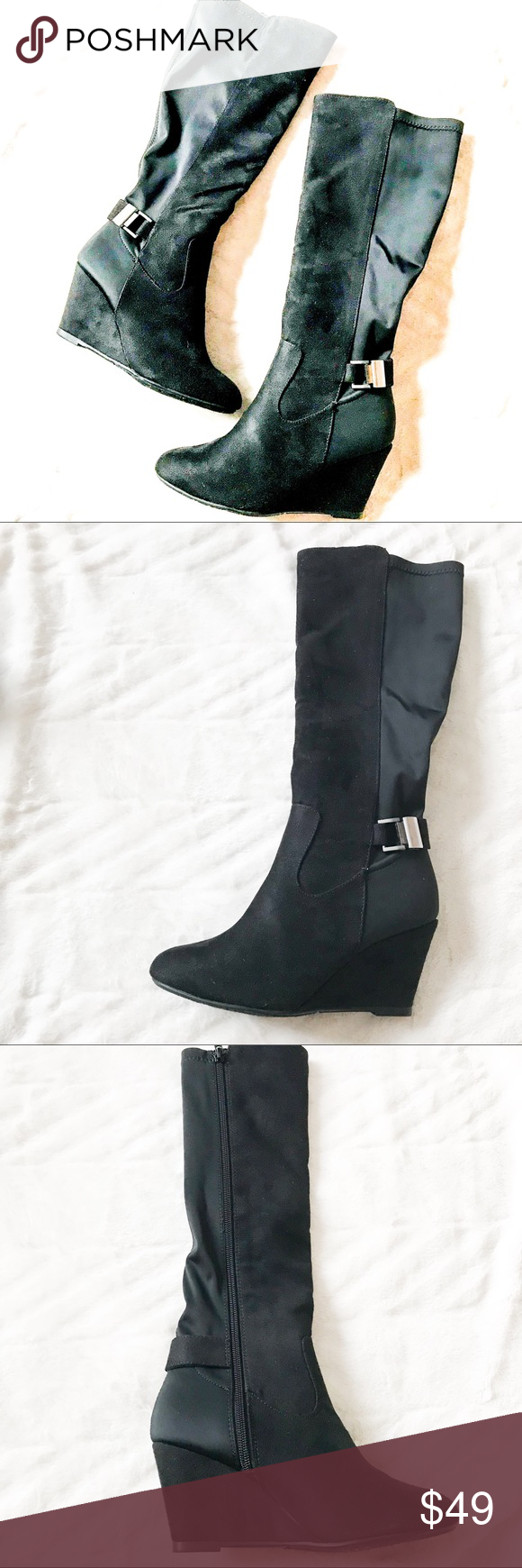 8b53c95df1f Chinese laundry black long boots with buckles Chinese laundry black long boots  with buckle. Size 6. New in box. Chinese Laundry Shoes Over the Knee Boots