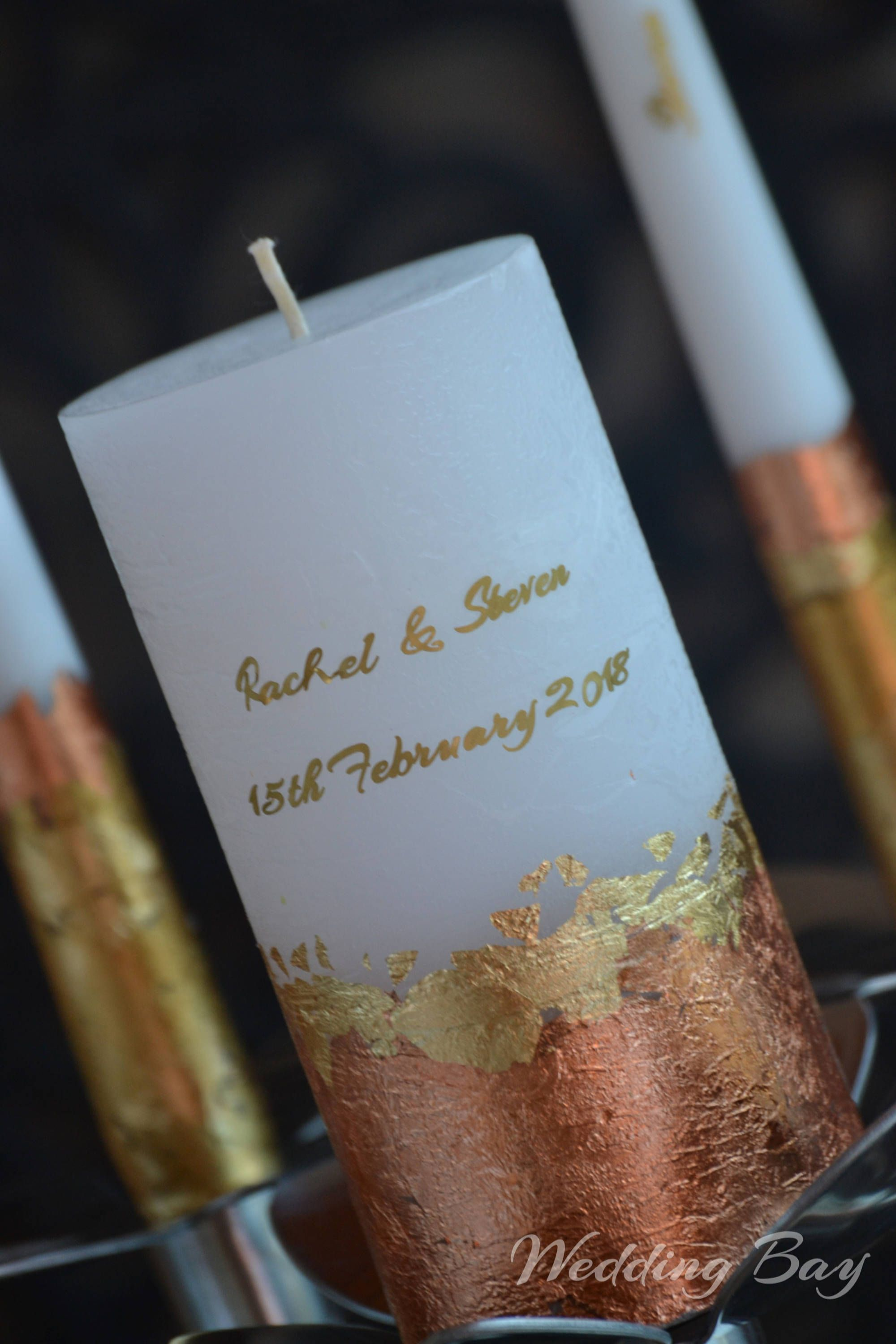 Wedding Candle Set Personalized Unity Custom Candles Gold Rose Gift By Weddingbay