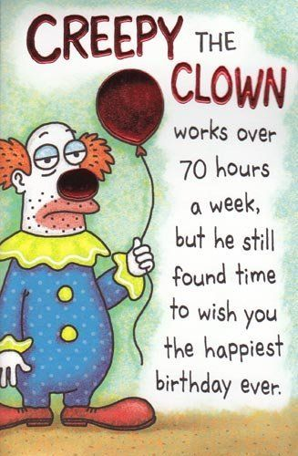 Greeting Card Birthday Humor Creepy The Clown By Greeting Cards