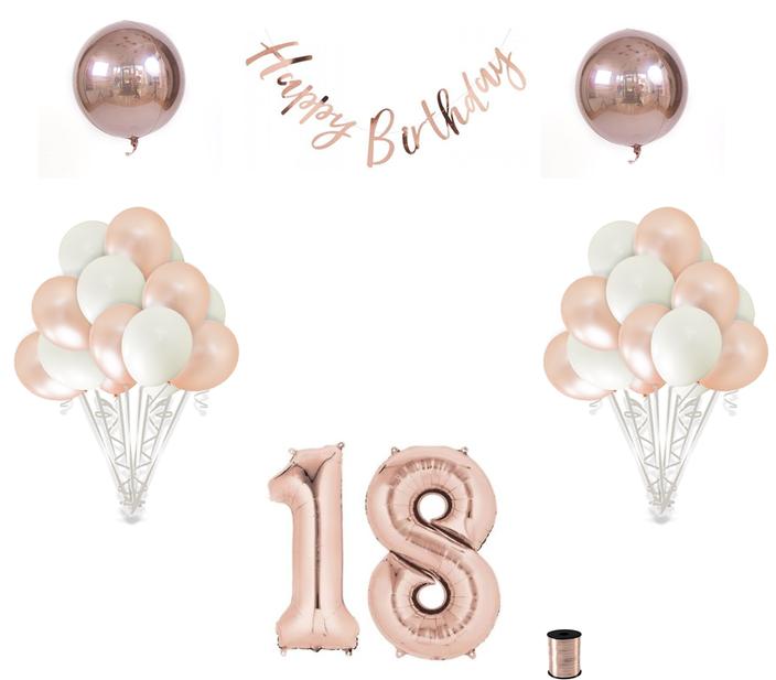 18th Birthday Balloon Decoration Set Rose Gold 18th Birthday Party 18th Birthday Party Themes Birthday Balloon Decorations