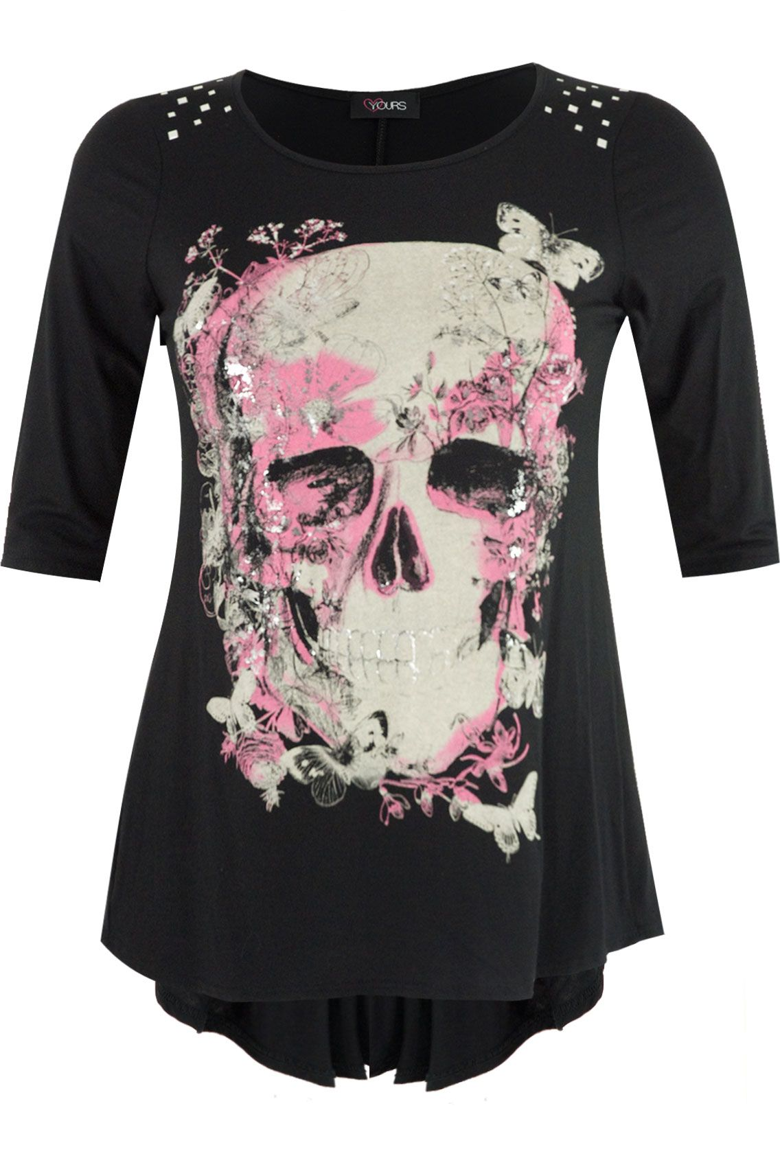 Yours Clothing Womens Plus Size Black skull printed top with godet ...