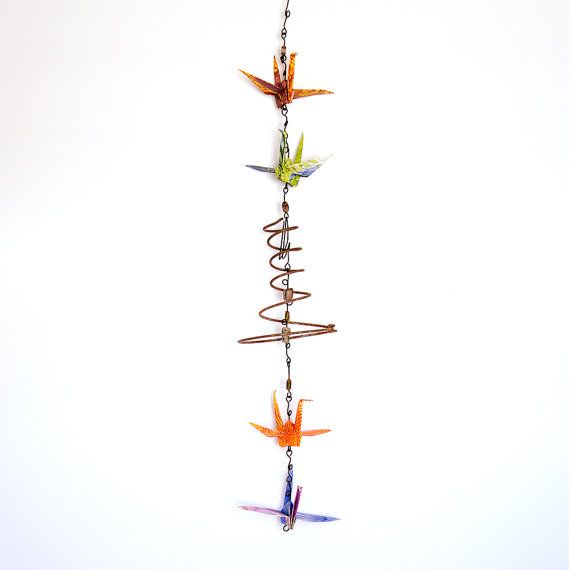 Unique Garden Art featuring 4 Tyvek Origami Cranes,Salvaged Upcycled Mattress Springs,Garden Decor,Home Decor,Outdoor Art,Gifts for Her
