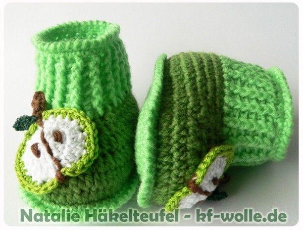 Babyschuhe Häkeln Babyschuhe Apfel Design à Faire
