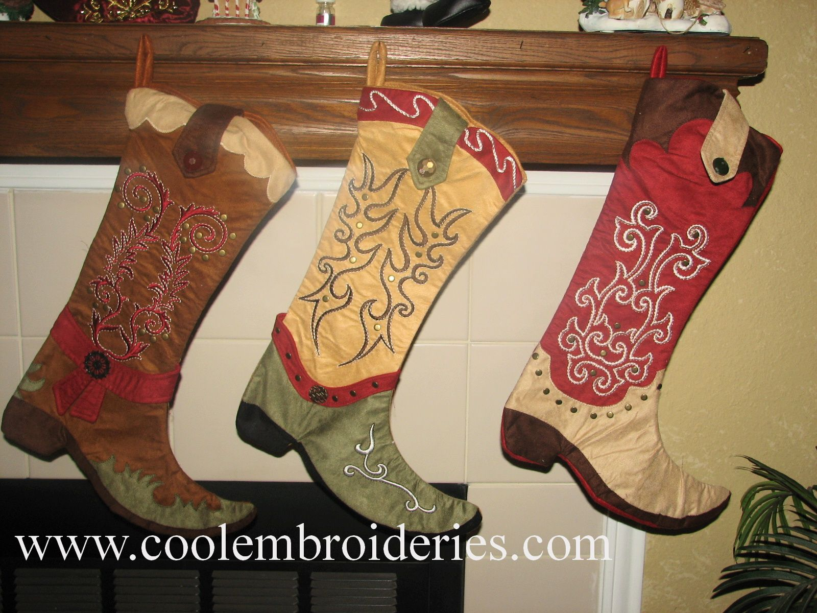 Boot Christmas Stocking Patterns Cowboy Western Decorations Boots Stockings Embroidered