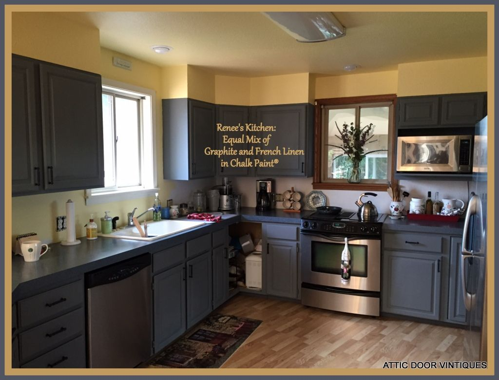 Renee painted her kitchen cabinets with chalk paint by for Chalk paint kitchen cabinets