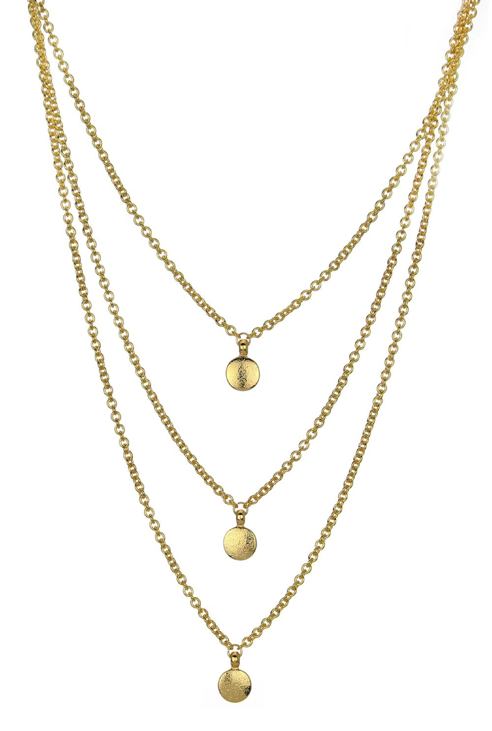 Gorgeous Gold Tone 3 Strands Disc Layered Necklace Free Shipping ...