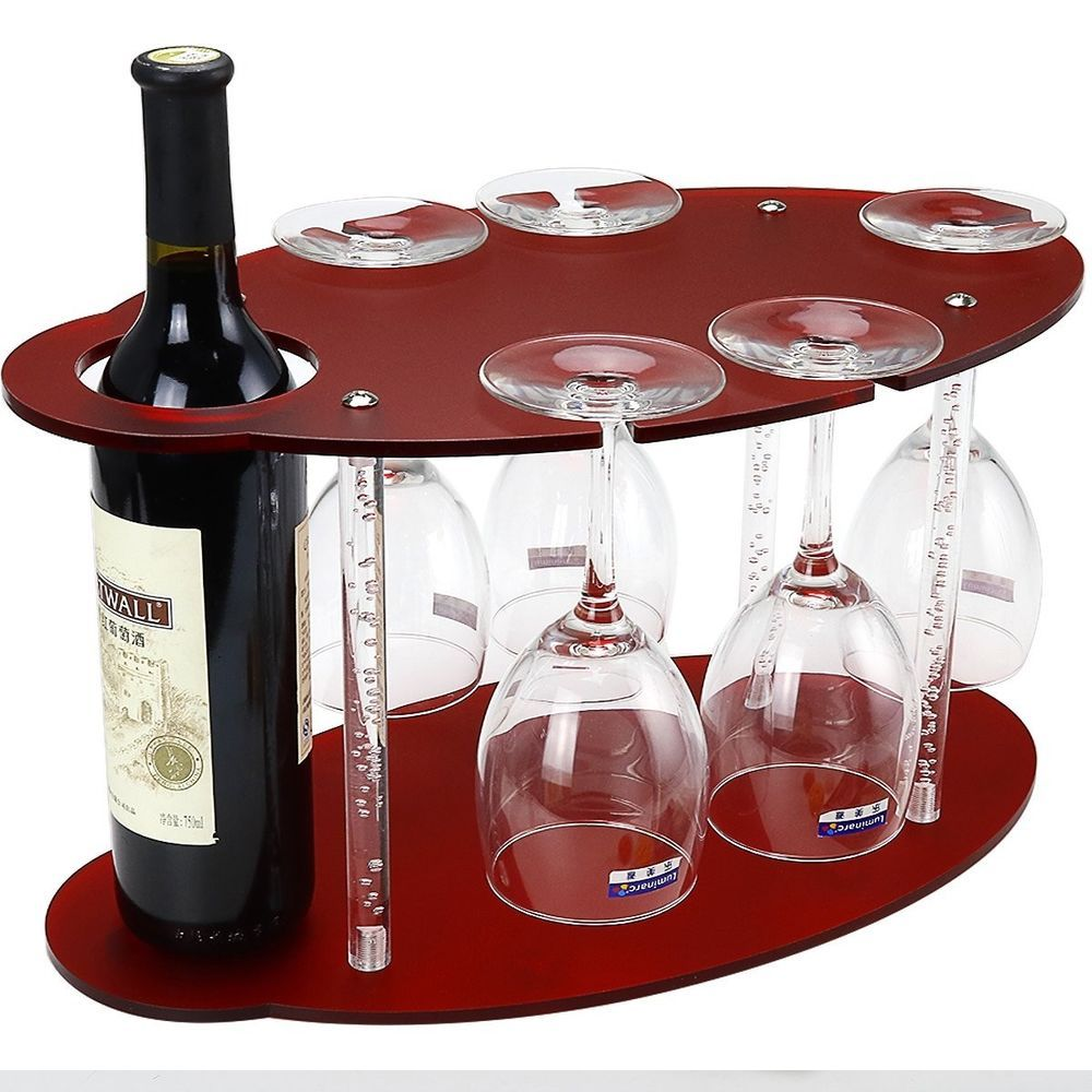Wine Tabletop Racks Glass Holder Free Standing Acrylic Small