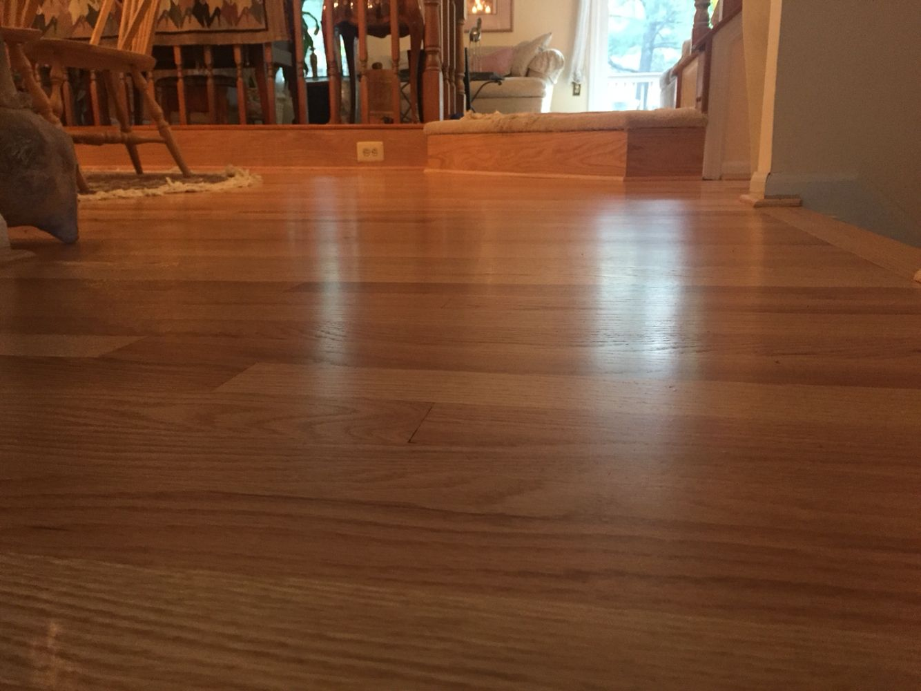 Impressive 5/16 unfinished red oak flooring on this
