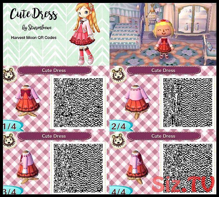 Harvest Moon Katies Cute Dress For Animal Crossing New Leaf Crossover Katie Qr C Animal Crossing Qr Animal Crossing Qr Codes Clothes Animal Crossing
