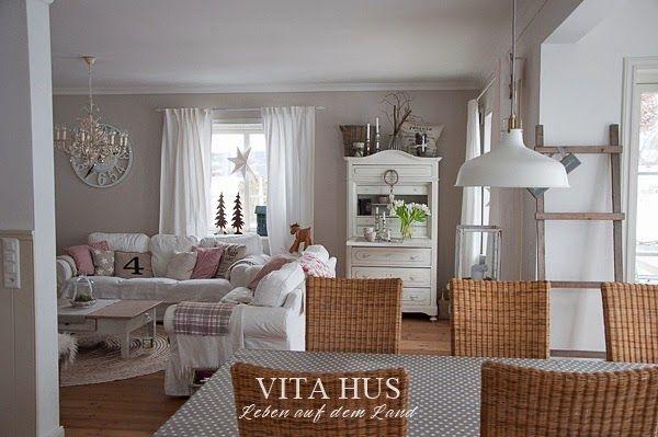 Skandinavisches wohnen wohnen in weiss shabby chic schwedenhaus green gate cottage garten - Esszimmer shabby chic ...