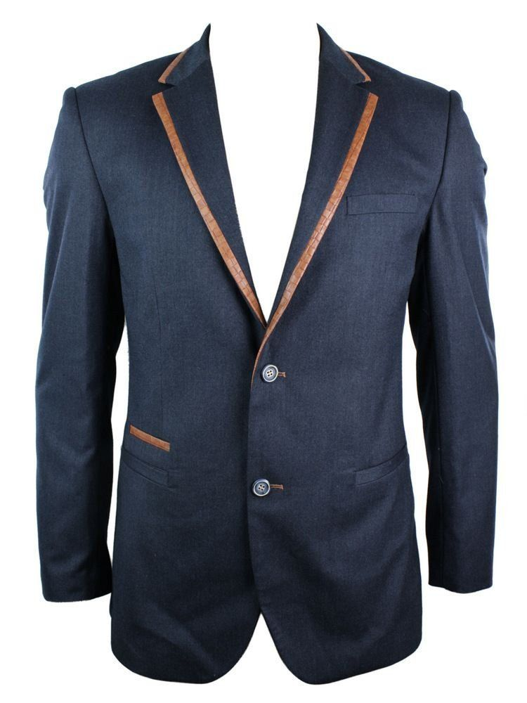 c3b205244dd0f Mens Slim Fit Blazer Jacket Navy Blue Tan Brown Trim Elbow Patch Smart  Casual  Amazon.co.uk  Clothing