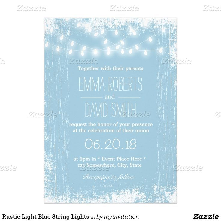Rustic Light Blue String Lights Wedding Invitation Powder