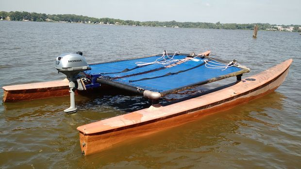 Convert a hobie cat from sail to power cheap pontoon boat for Small catamaran fishing boats