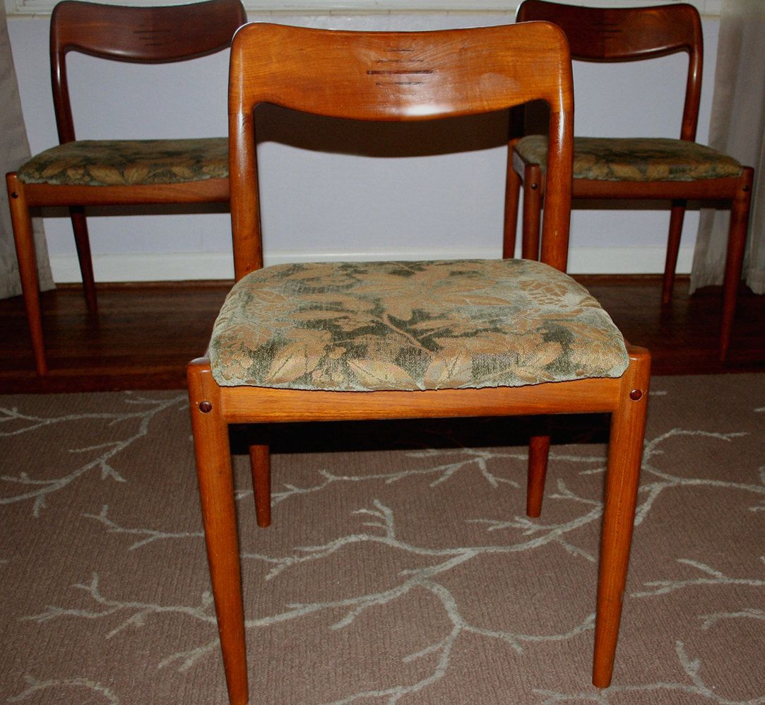 Vintage Mid Century Danish Modern Teak Moller Style Dining Side Chair Wood  Inlay By D Scan Furniture