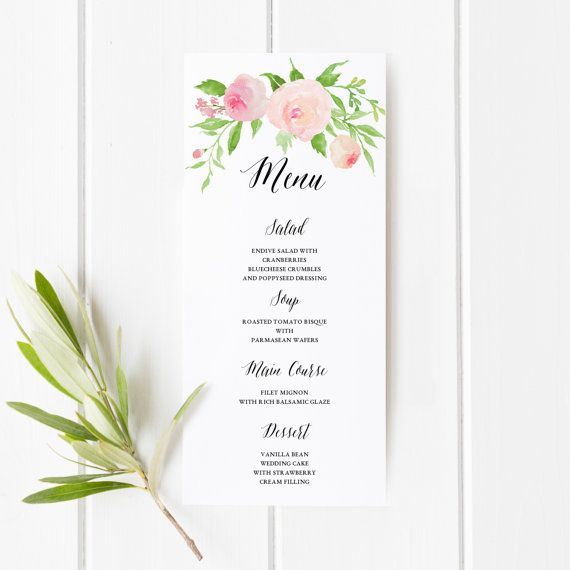 Printable Floral Boho Wedding Menu Template  Floral Wedding Menu