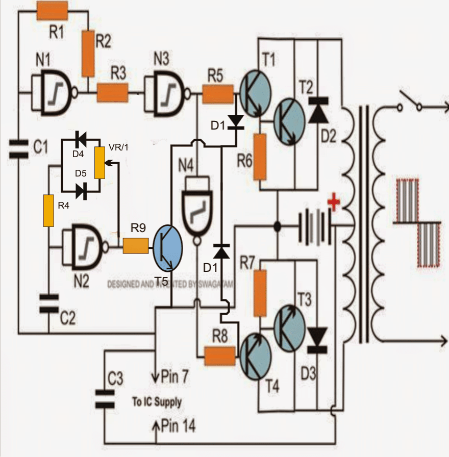 ic 4049 nand gate based modified sinewave inverter circuit [ 880 x 896 Pixel ]