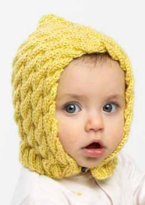 f69250d0cdd Free Knitting Pattern for Easy Cabled Baby Bonnet - This easy baby bonnet  is knit in rectangle and seamed to form the hood shape.