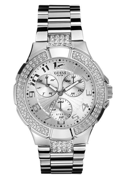 3e60d0daaf799 Montre Femme GUESS Prism Chronographe I14503L1, bracelet et boîtier en  acier, strass swarovski.
