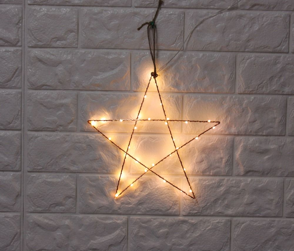 2pcs/set 12inch LED metal star with copper wire light battery ...