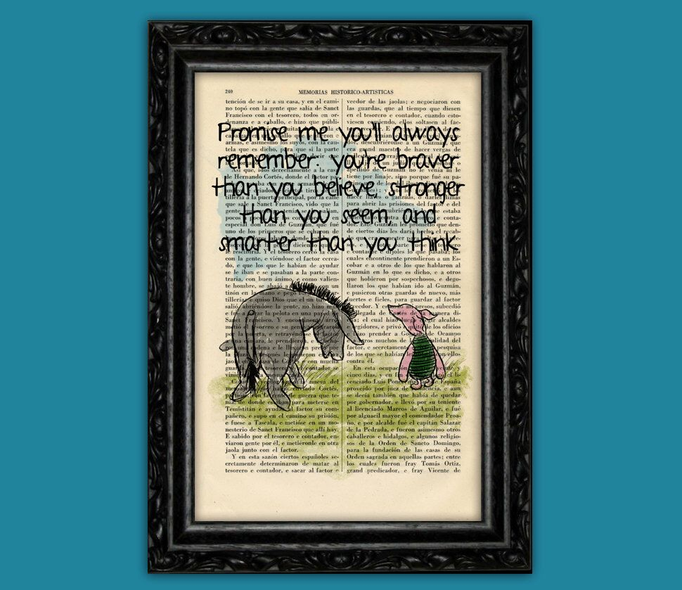 Winnie The Pooh Quote Art: Winnie The Pooh Eeyore And Piglet Old Book Page Art Print
